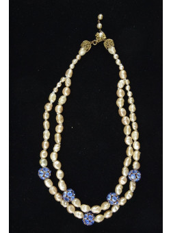 Vintage Glass Faux Pearls Necklace Miriam Haskell 1950's Mad Men Style
