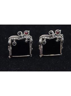 Artisan Ethnic Handmade Israeli 925 Sterling Silver Onyx Clip Earrings