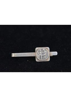 Signed Israel Bier 800 Silver Tie Clasp Clip