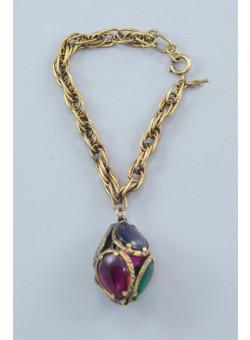Costume Jewelry Gold-tone Rhinestones Luck Charm Bracelet by TRIFARI