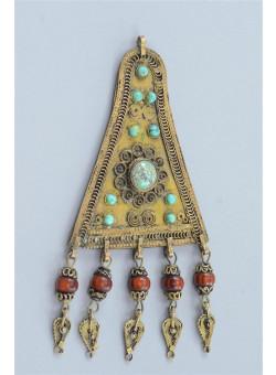 Vintage Yemenite Jewellery Silver Filigree Pendant with Malachite Stones