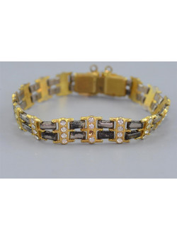 Costume Jewellry Gold-Tone and Silver-Tone Link Bracelet with Marquesite Stones