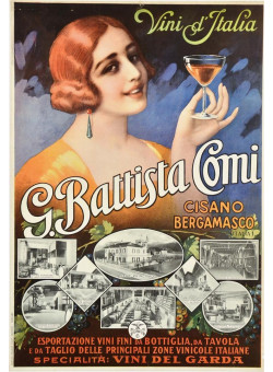 Original Vintage Italian Wine Advertising Poster -  G. Battista Comi Italy