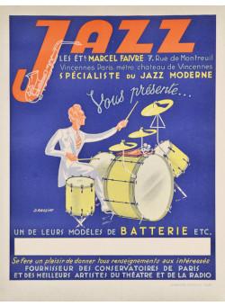 Original Vintage Music Poster Jazz by J. Rassiat circa 1940