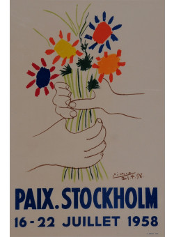 """Original Lithograph """"Paix. Stockholm"""" by PICASSO for """"Affiches Originales"""" 1959"""