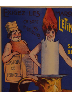 Original Vintage French Poster Bolle-Besson L'e'tincelle Savon Bougie 1910