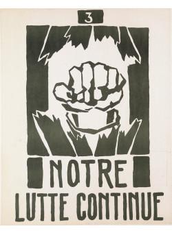 "Vintage French 1968 Student Revolution Poster ""Notre Lutte Continue"""