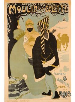 Original Vintage French Poster LE MOULIN DE LA GALETTE at Twelfth Night ca. 1900