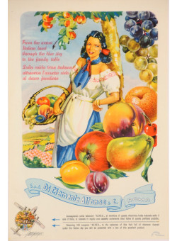 """Original Vintage Italian Advertising Poster for """"Di Clemente Alfonso & Co. Roma"""" Fruits 1940's"""