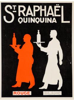 "Original Vintage small French Print ""Quinquina Rouge Blanc"" St Raphael Aperitif 1930's"