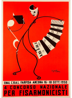 "Original Vintage Italian Advertising Poster ""Ancona Accordeon Festival"" 1950"