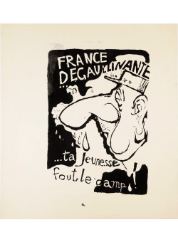 "Original Vintage French 1968 Student Revolution Poster ""France Degoulinante"""