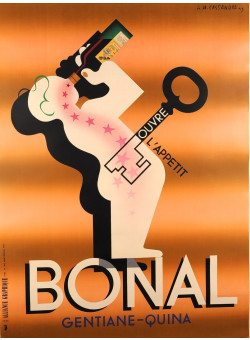 "Original Alcohol Drink French Adverting Vintage Poster ""Bonal"" by Cassandre 1933"