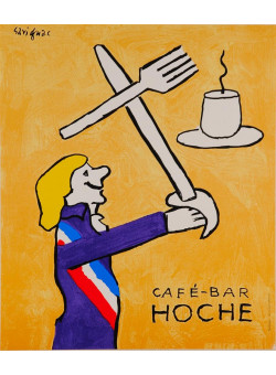 "Original Vintage French Poster ""Cafe-Bar Hoche"" by Savignac 1980's"
