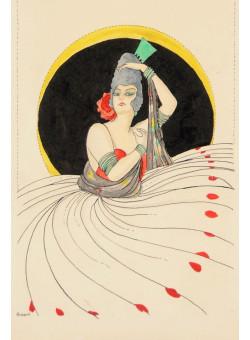 Original Watercolor Drawing of an Elegant Lady by HURRIS Circa 1930