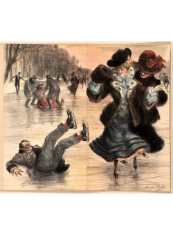 """Original Vintage French BEFORE LETTERS Menu Lithograph """"Ice-skating"""" by Redon"""