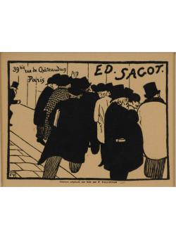 """Original Vintage French Print """"Ed Sagot"""" by F. Vallotton Gold Leaf Frame 1898"""
