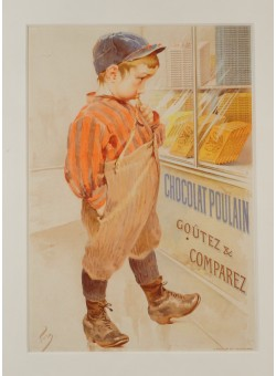 "Original Vintage French Advertising Poster ""Chocolat Poulain"" ca. 1900"