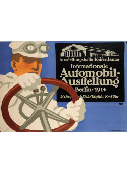 "Original Vintage German Poster Advertising The ""Berlin Auto Show"" 1911"