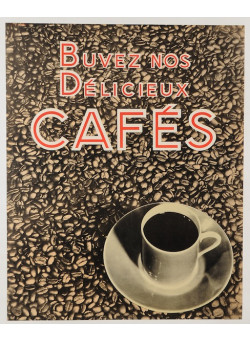 "Original Vintage Coffee Advertising Poster ""Buvez nos delicieux Cafés"" 1950's"
