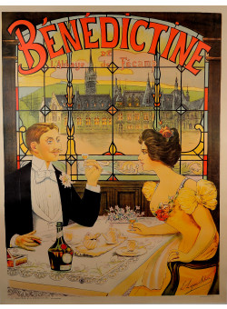 "Vintage French REPRINT  Lithograph Poster ""Bénédictine"" by Lopes-Silva ca.1990"