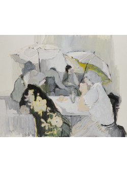 "Itzchak Tarkay ""Tea Time"" Mixed Media on Paper on Board 23.6X30.3 inches 1984"