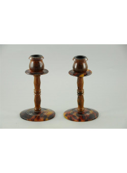 Vintage Tortoise Shell  Candlesticks , RARE
