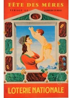 "Original Vintage Loterie Nationale Poster ""Fete Des Meres"" by Lesourt"