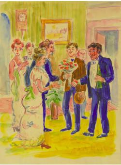 """ The Party"" Watercolor on Paper by Van Dongen"