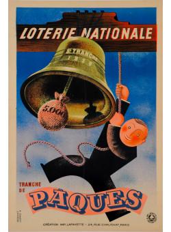 """Original Vintage Loterie Nationale Poster """"Tranche de Paques"""" by Derouet Lesacq 1939"""