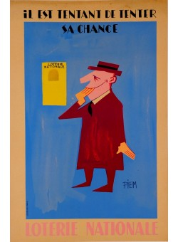 """Original Vintage French Loterie Nationale Poster """"Il Est Tentant De Tenter sa Chance"""" by Piem 1950's"""
