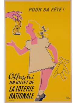 """Original Vintage Loterie Nationale Poster """"Pour Sa FETE!"""" by M. Pineau"""