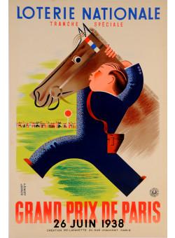 """Original Loterie Nationale Poster """"Grand Prix de Paris"""" by Derouet & Lesacq 1938"""