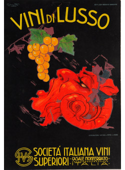 "Original Vintage Advertising Poster Alcoholic Drink ""De Luxe Wine"" by Codognato"