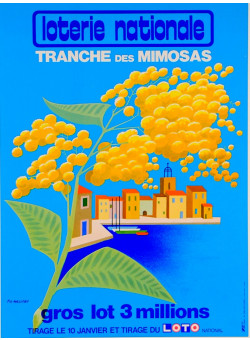 """Original Vintage Loterie Nationale Poster """"Tranche des Mimosas"""" by Fix-Masseau"""
