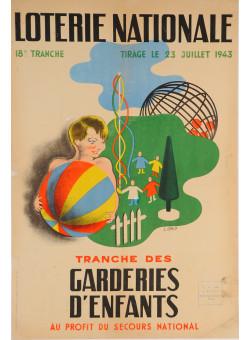 "Original Advertising Poster ""Loterie Nationale"" ""Garderies D´enfants""  L. Carlo´1943"