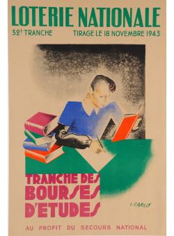 "Original Vintage Loterie Nationale Poster ""Bourses D'etudes"" by Carlo 1943"