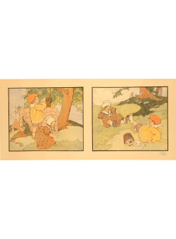 """Original Vintage Arts & Crafts Lithograph """"Little Girl"""" by Spoor 1917"""