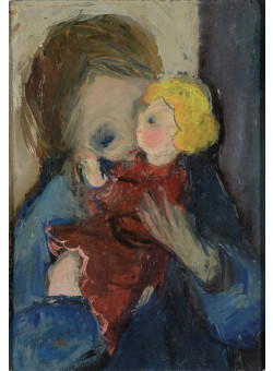 """Original Extremely Rare Oil on Canvas Painting by Itzhak Tarkay """"Child with a Doll"""" 1960's"""
