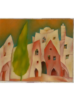 "Original Signed Acrylic on Canvas Painting ""Houses of Jerusalem"" by Harry Guttman"