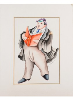 """Original Pastel on Paper Drawing """"The Lawyer"""" Yuval Mahler 1992"""