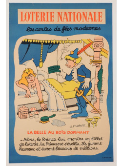 "Original Vintage Loterie Nationale Poster ""Modern fairy tales"" Pruvost ca. 1950"