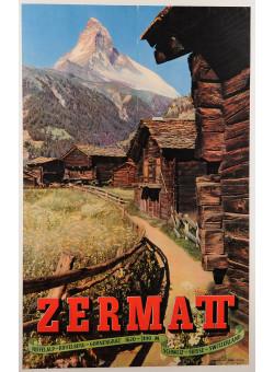 """Original Vintage Swiss Travel Poster for the """"Zermatt"""" Mountain Village 1950's"""