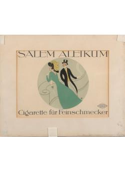 "Small Vintage German Poster Advertising ""Salem Aleikum"" Cigarettes 1920's"