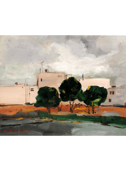 """Signed Painting Acrylic on Canvas by Chaim Rosental """"White Buildings"""" 1990's"""