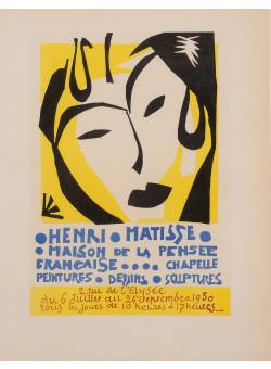 """Original Lithograph """"Maison de la Pensée Française"""" by MATISSE 1959"""