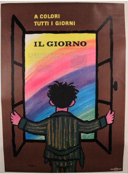 "Original Vintage Italian Newspaper ""IL GIORNO"" Savignac 1970´s"
