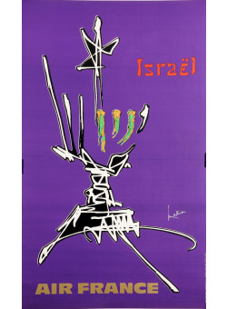 """Original Vintage French Poster for """"Air France Israel"""" by Mathieu Georges 1960's"""