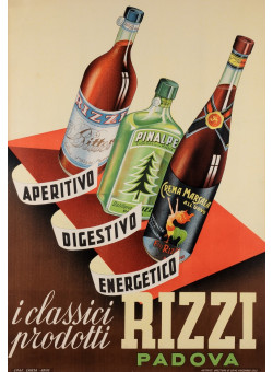 "Original Vintage Italian Alcohol Poster Advertising ""Rizzi"" ca. 1950"