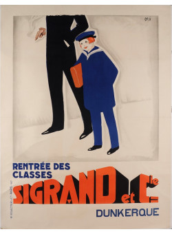 "Original Vintage French Advertising Poster ""Rentrée des classes-Sigrand et Cie"""